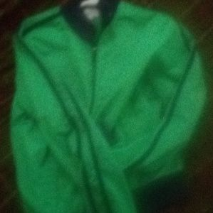 Green jacket with blue stripes